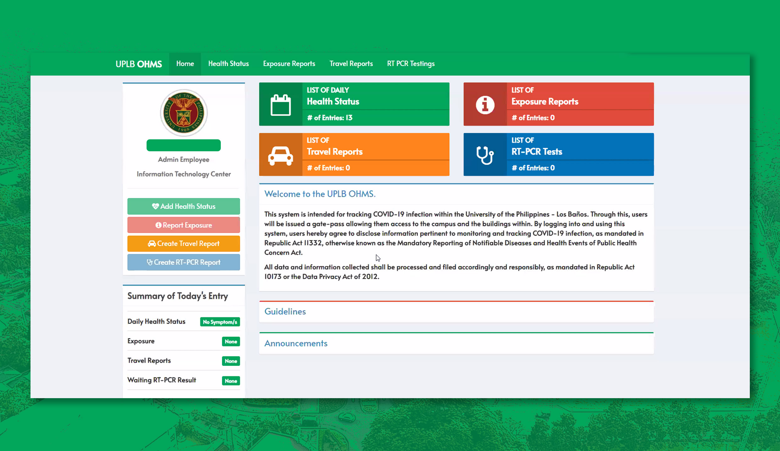 UPLB implements online health monitoring system