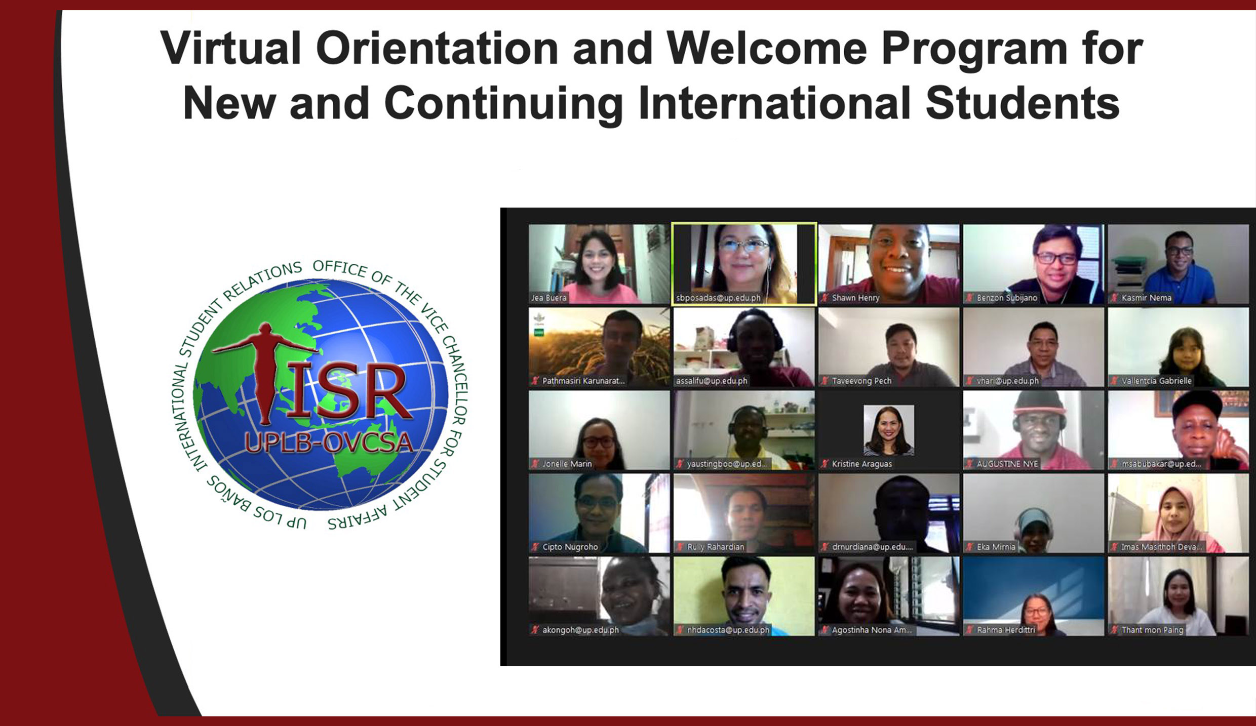 ISR-OVCSA orients international students